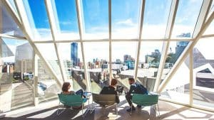 image of students lounging at Ryerson University, another institutional using QMC's Advanced Institutional Metering