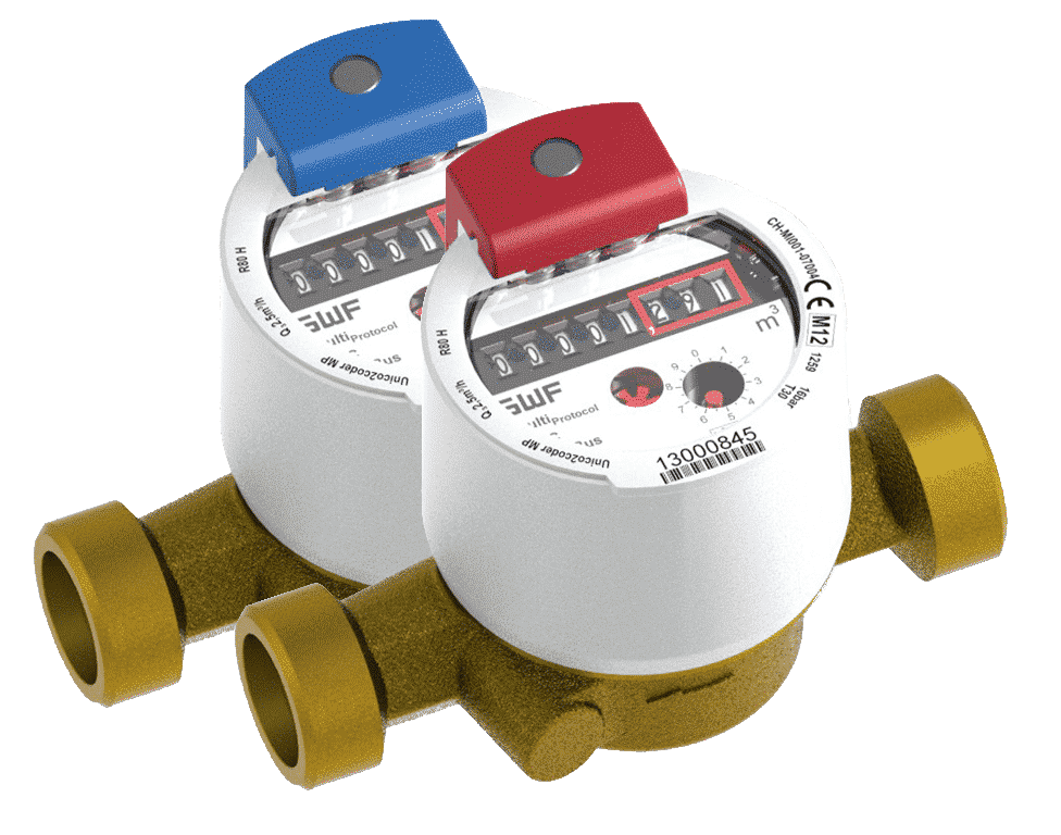 Image of UNICOcoder water submeters, for both hot and cold residential submetering