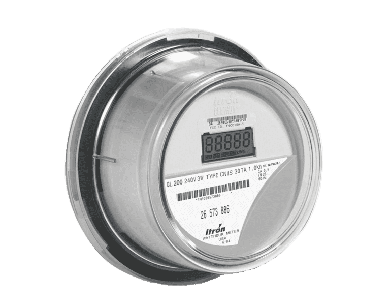 Image of a Itron socket meter, an electricity submeter that QMC sells