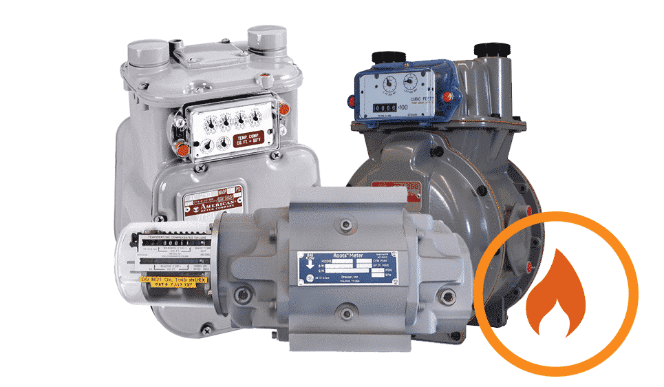 Image of Gas submeters QMC has available, from roots to barchard