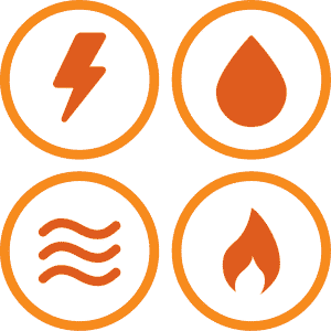 A group of icons with denoting electricity, water, gas, and thermal submeters