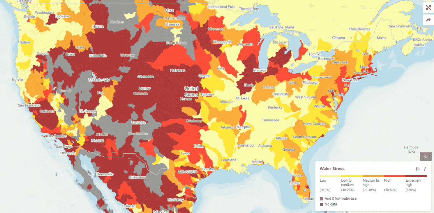 image of water stress levels predicted for USA in 2030