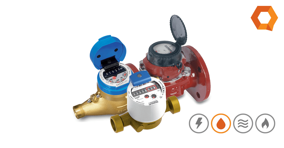 Image of GWF Water meters with QMC logos